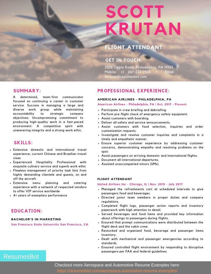 Flight Attendant Resume Samples & Templates [PDF+DOC] 2019