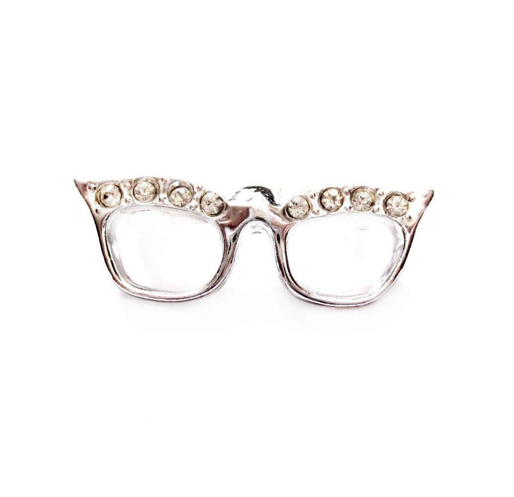 216091c10d4 Vintage Rhinestone Cat Eye Glasses Brooch   Pin