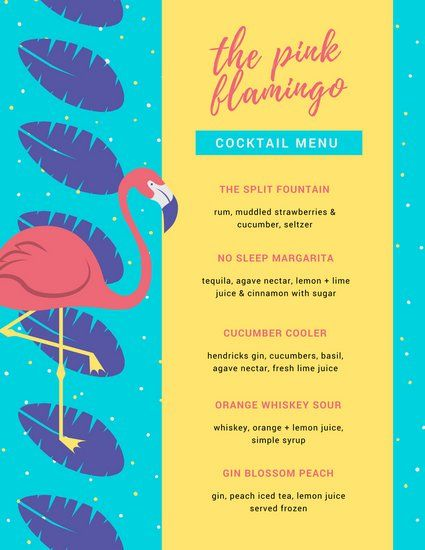 Colorful Bright Colors Flamingo Cocktail Menu  Don Menus