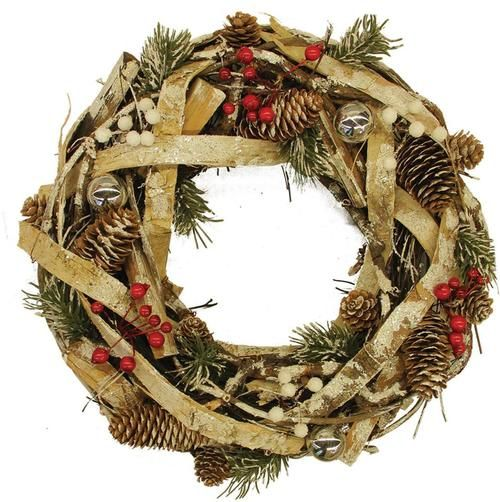 "13.5"""" Country Rustic Pine Cones and Berries Christmas Wreath Decoration"