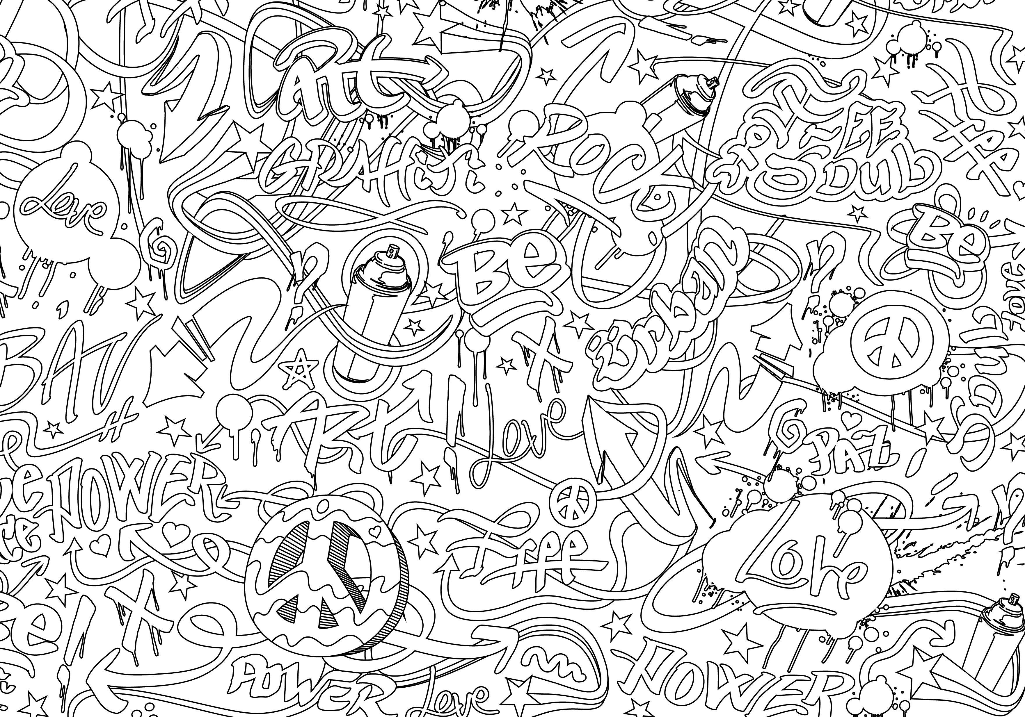 Graffiti coloriage coloriage - Coloriage graffiti ...