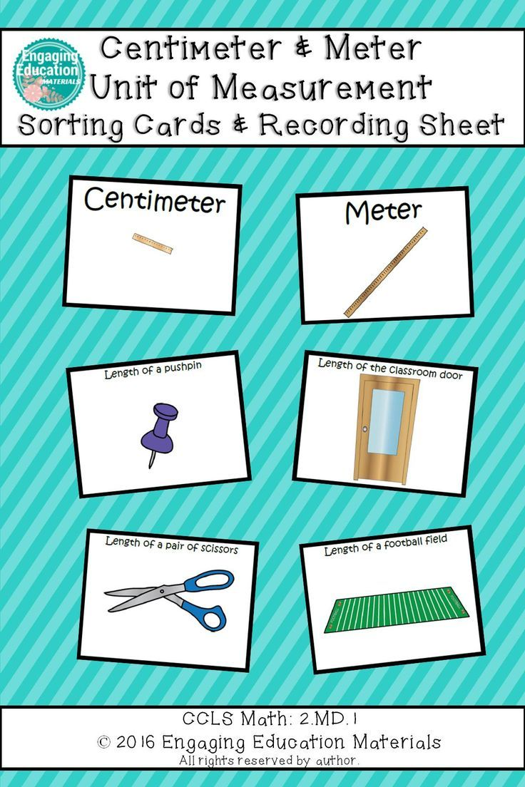 worksheet Measuring With Centimeters centimeter and meter unit of measurement sorting cards students cards