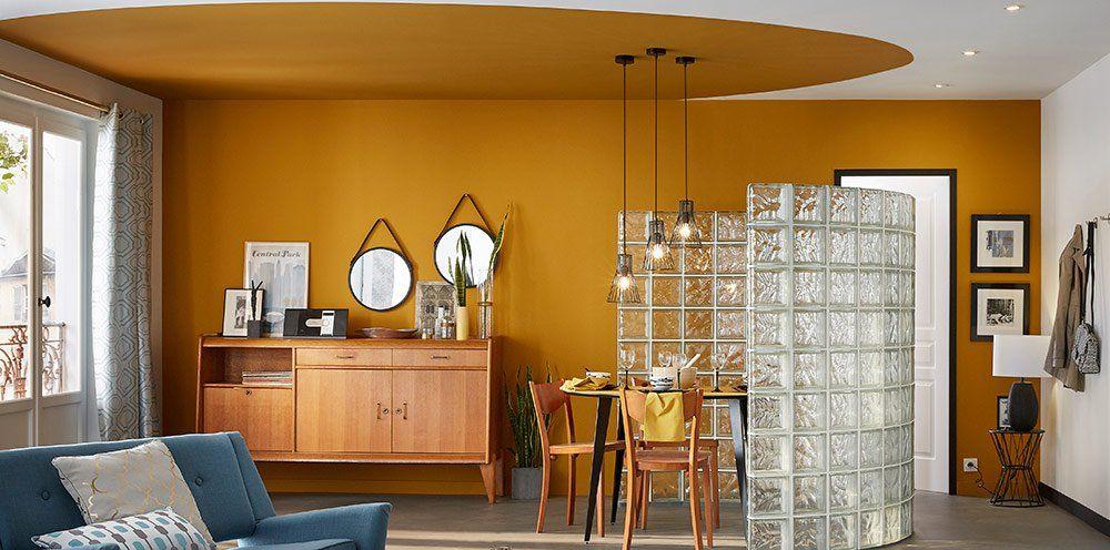 salon salle à manger ocre jaune vintage fifties Leroy Merlin Déco