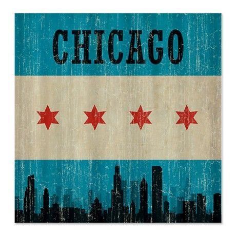 Vintage Chicago Skyline Shower Curtain By Teyes Cafepress
