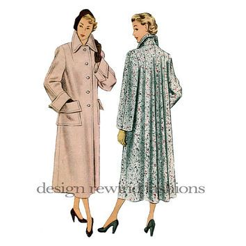 1940s Swing Coat Pattern Tailored Lined Flared Back Cuffs Button