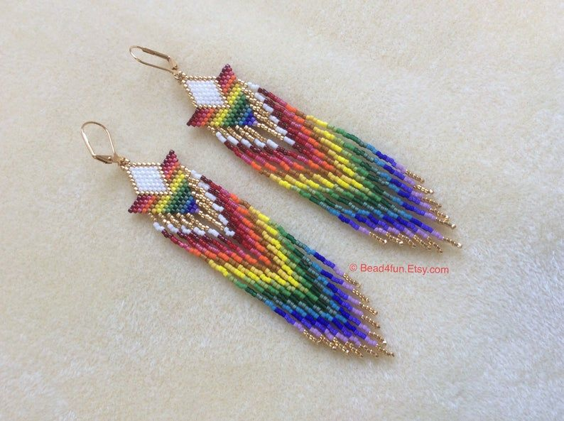 Shoulder Dusters Genuine American Made In The USA Name: Darkside Of The Rainbow\u201d Seed Beaded Earrings Boho Beaded Rainbow Earrings