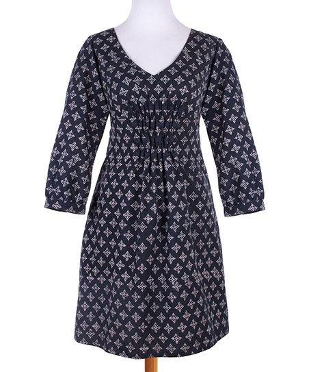 Mata Traders Navy Memory Lane V-Neck Dress | zulily
