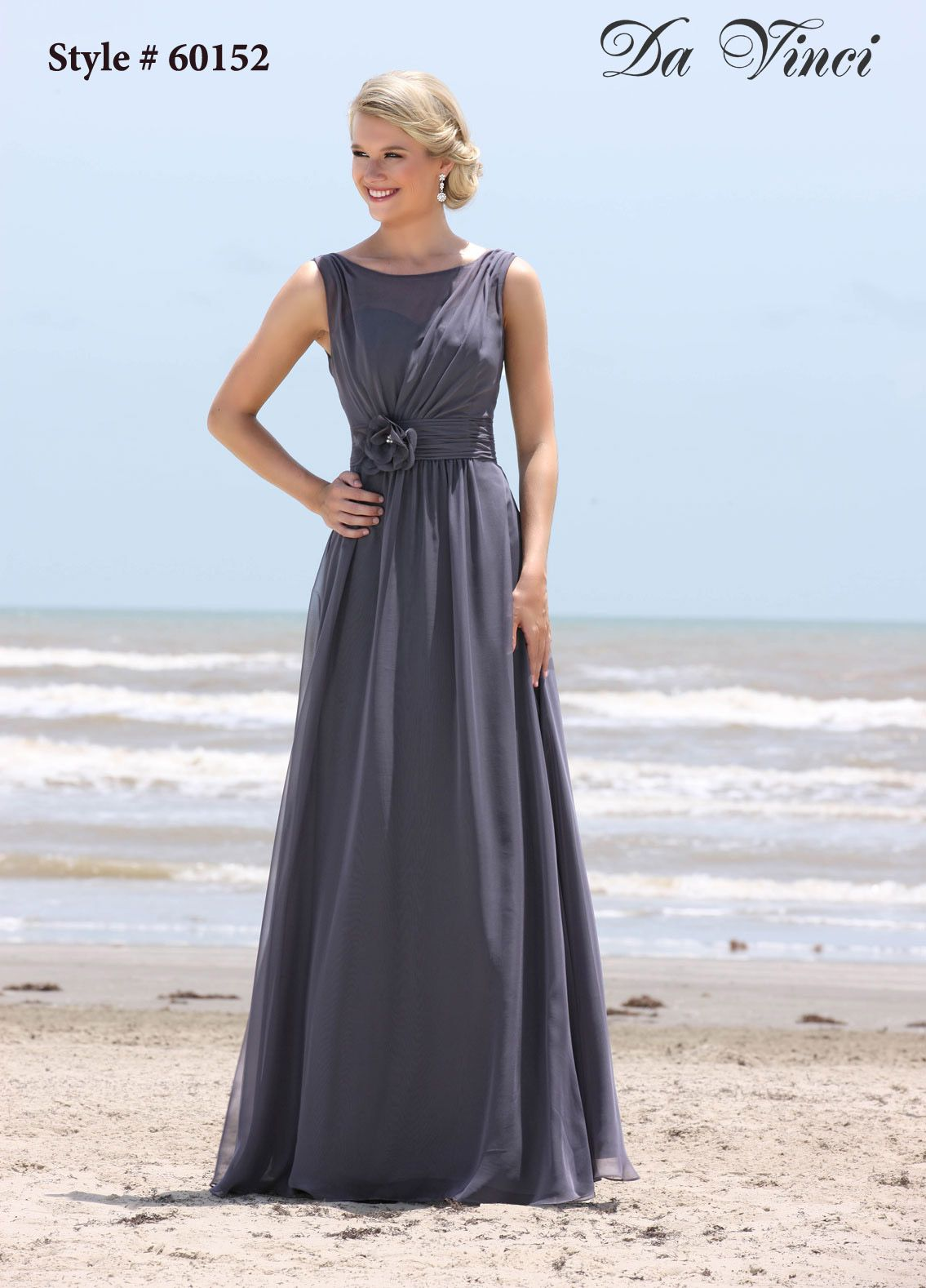 Spring 2014 davinci bridesmaids style 60152 bridesmaid 60152 floor length long chiffon bridesmaids dress with a modest illusion neckline and flower detail pictured here in a sophisticated grey color ombrellifo Choice Image