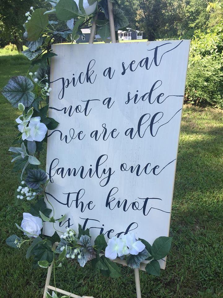 Pick a Seat not a Side wedding signs wedding decor wedding   Etsy