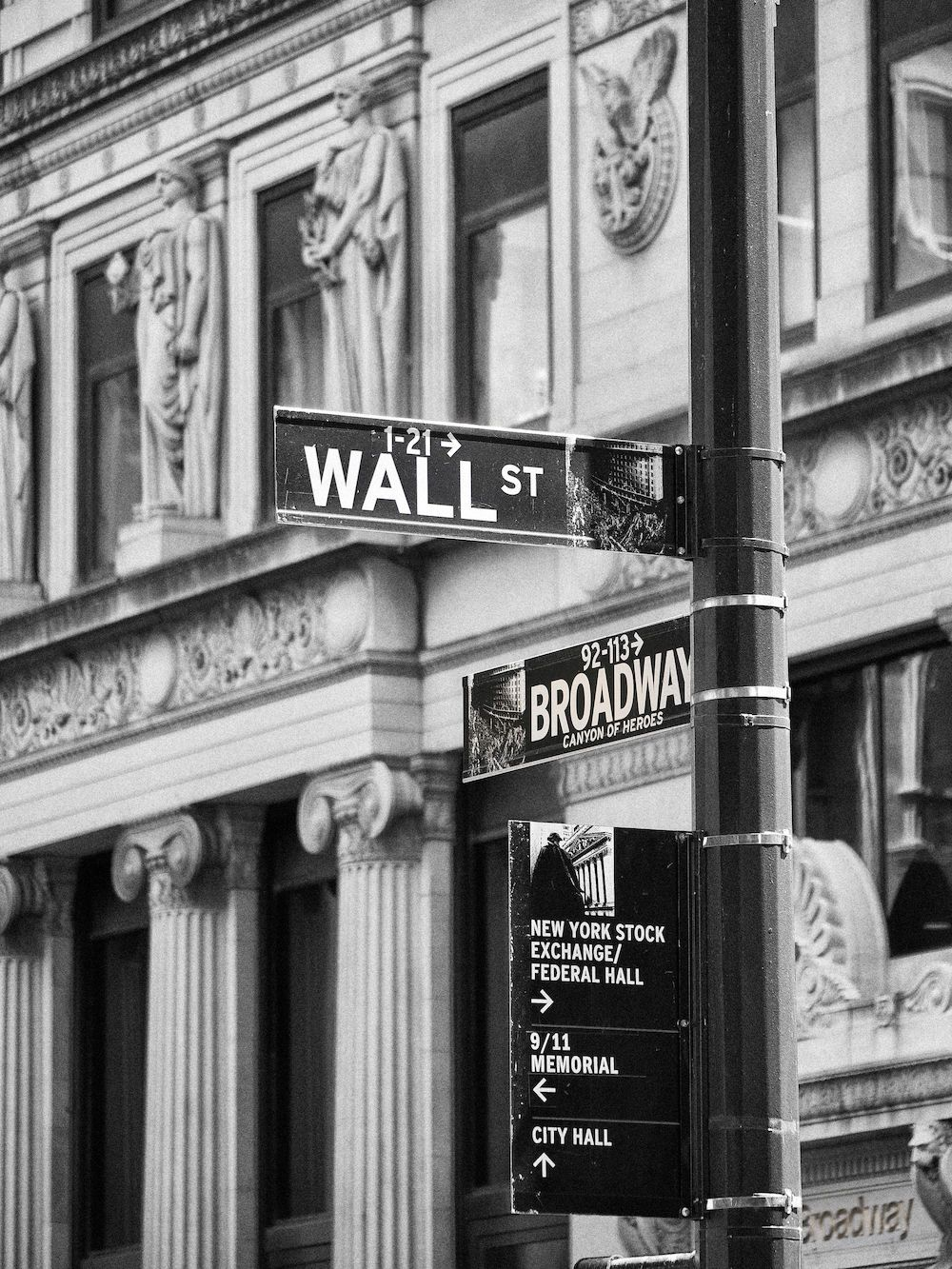 black white black and white new york city road sign on black wall street id=26657
