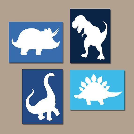 3 Personalised Dino Dinosaur Trex  Print Nursery Wall Art Decor Room Pictures