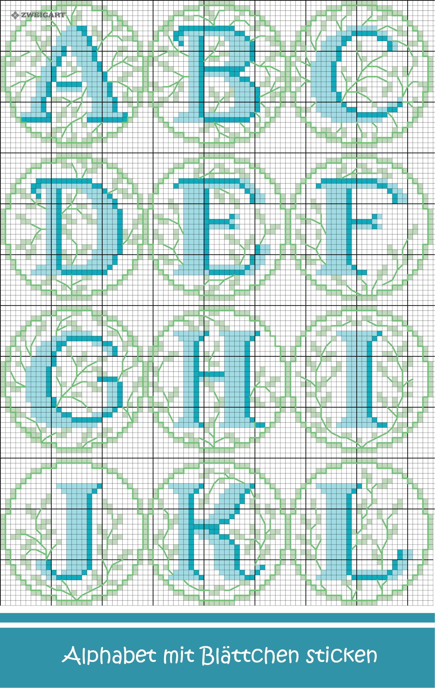 Alphabet mit kleinen bl ttern sticken entdecke - Sticken vorlagen kostenlos ...