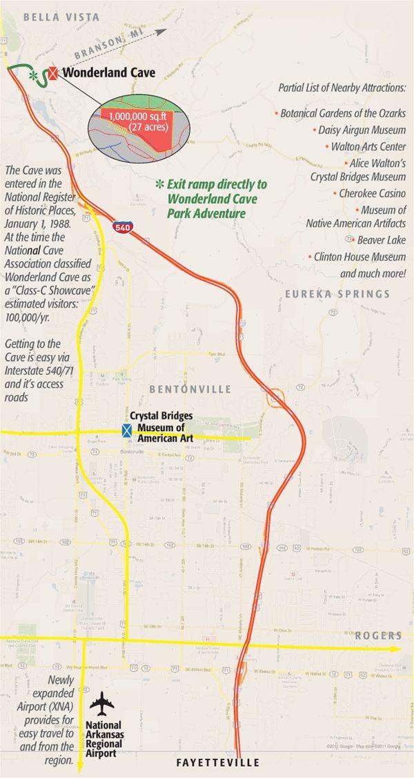 Area Map - The Wonderland Cave Park Adventure | Arkansas | Area map Arkansas Caves Map on