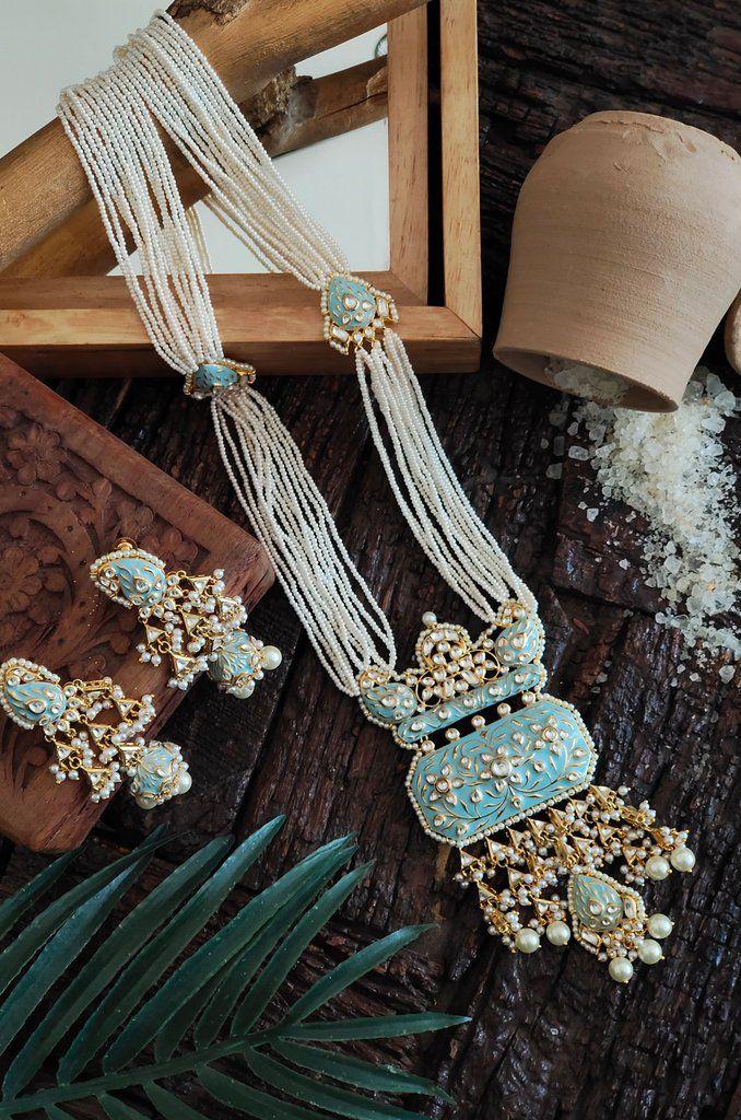 Hemanghi Turquoise Gold Plated Meenakari and Pearl