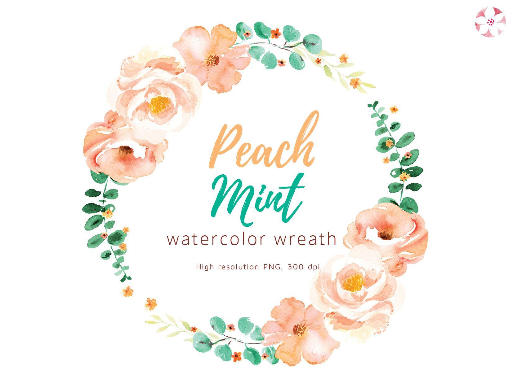 watercolor peach mint wreath clipart