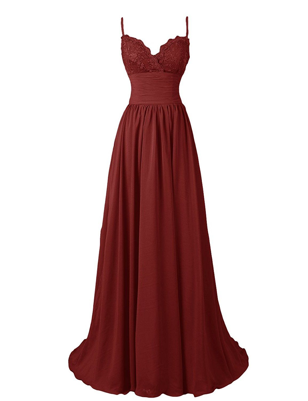 Diyouth aline spaghetti straps sweetheart long lace chiffon prom