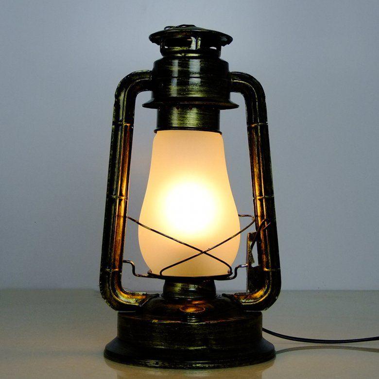 Fashion Kerosene Table Lamp Nostalgic Vintage Kerosene Lamp Chinese Style Lantern Old Furniture Kerosene Electric