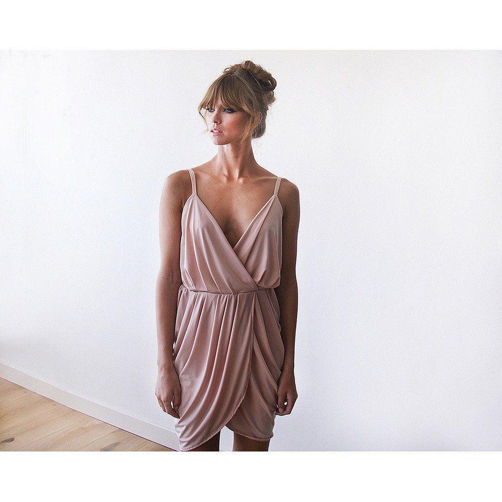 Pastel pink bridesmaid dress  Blush Pink Bridesmaids Wrap Mini Dress   Products  Pinterest