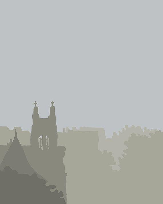 Lámina fina.  Vista de la catedral en la niebla.  26 De noviembre de 2013.