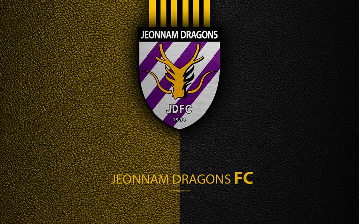 Lataa kuva Jeonnam Dragons FC, 4k, logo, Etelä-Korean football club, K-League Classic, nahka rakenne, tunnus, Cholla-Namdo, Etelä-Korea, jalkapallon em-kisat