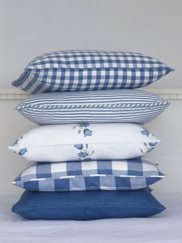these cushions would match my IKEA slip covered furniture in blue and white, perfectly!