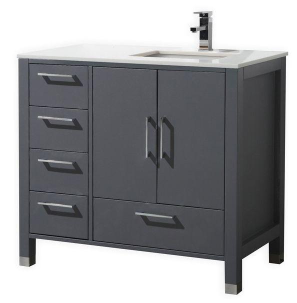 36 Inch Matt Grey Contemporary Bathroom Vanity Left Side Drawers Bathroomvanitiesleftsidesink
