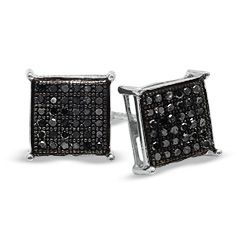 square earrings diamond Black