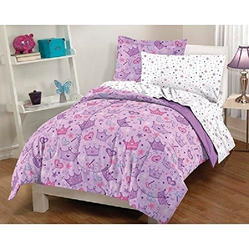 7 Piece Purple S Princess Crowns Themed Comforter Full Set Beautiful All Over Colorful