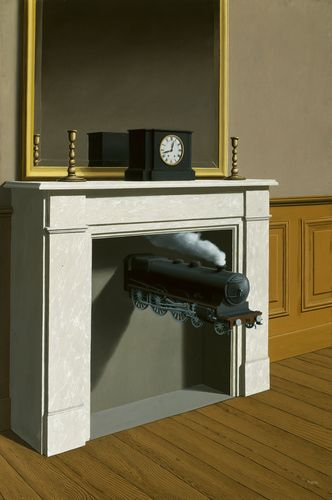 """Rene Magritte (Belgian, 1898-1967). """"Time Transfixed,"""" 1938. Oil on canvas. 147 x 98.7 cm (57 7/8 x 38 7/8 in.). The Art Institute of Chicago."""