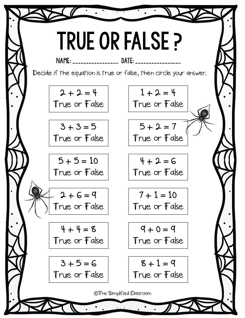 Free True Or False Worksheet Perfect For First Grade In 2021 First Grade Math Math Time Education Math [ 1056 x 816 Pixel ]