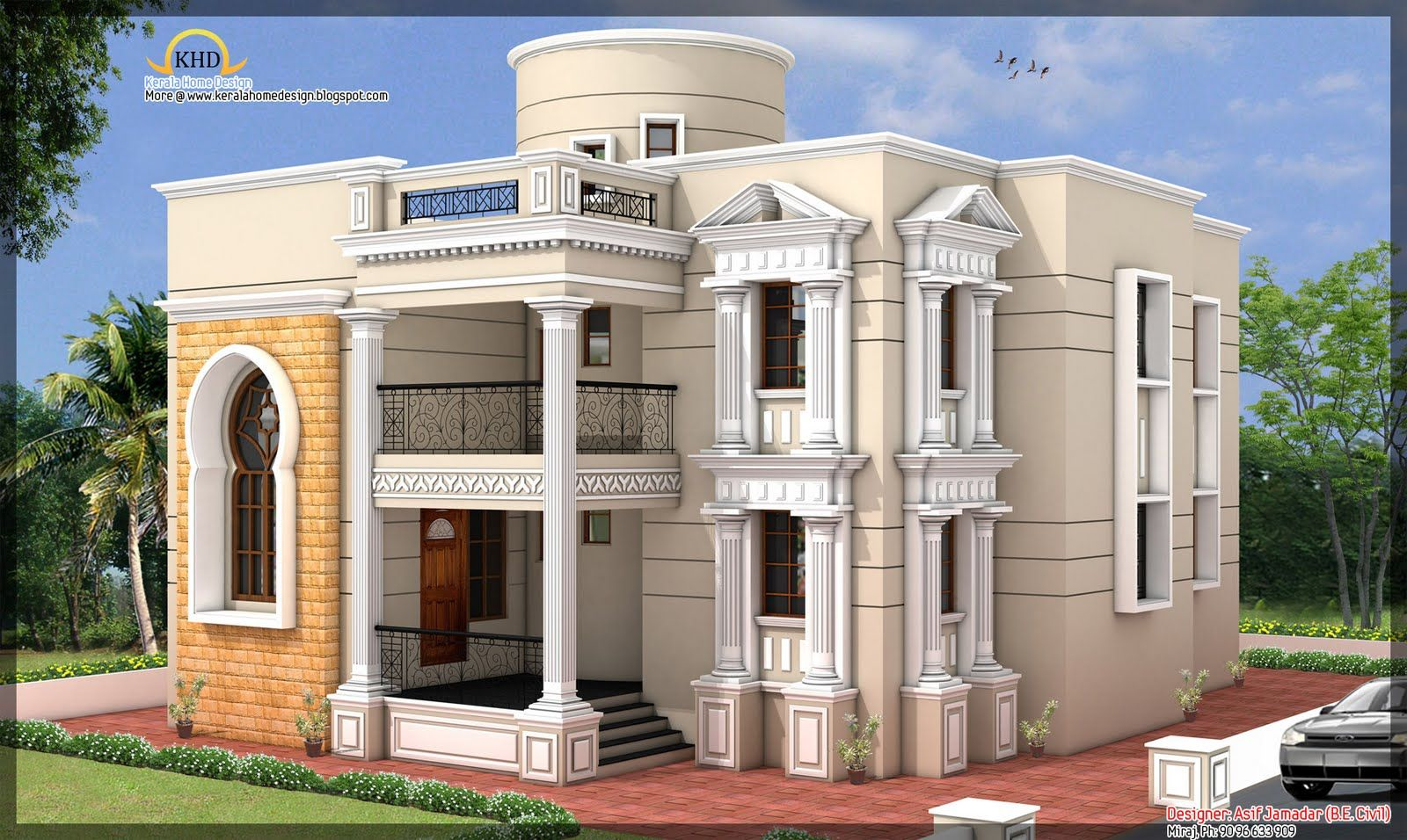 Arabic home designs ground floor 2121 00 sq ft first for Ground floor 3d elevation