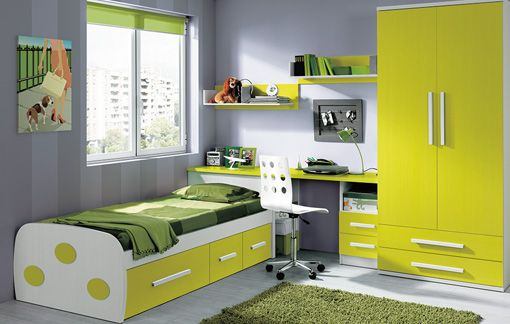 Dormitorio ni o verde inspiraci n de dise o de interiores decoraci n dormitorios dise o - Muebles dormitorio ninos ...