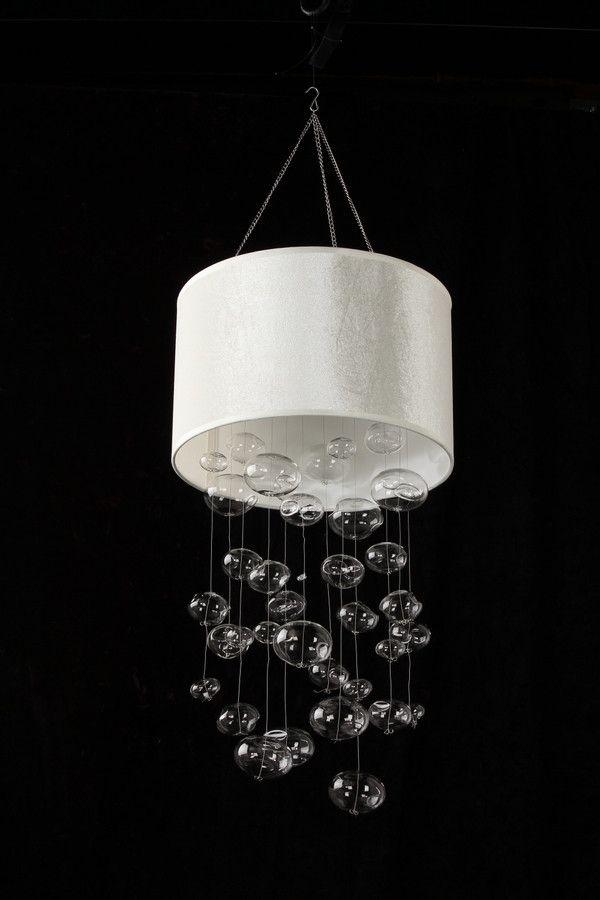 Faux White Suede Glass Bubble Globe Chandelier