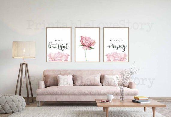 Hello Gorgeous Printhello Beautifulblush Pink Wall Etsy Pink Walls Pink Wall Art Pink Home Decor