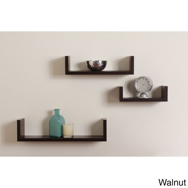 Melannco Floating Shelves Stunning Danya B Floating 'u' Walnut Finish Shelves Set Of 3 White Inspiration