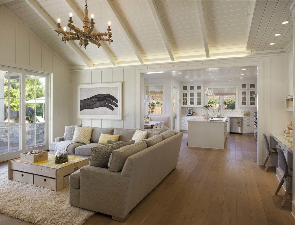 modern farmhouse family room 1 - Farmhouse Great Room Plans