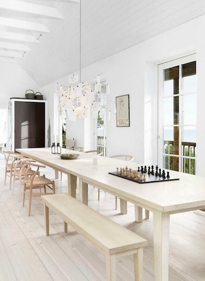 One long table, different kinds of seating Places and Spaces