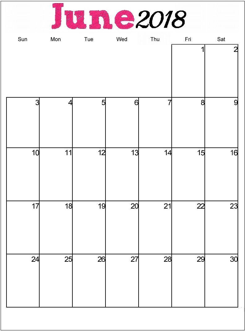 Httpzhonggdjwjune Calendar 2018 Printableml June Calendar