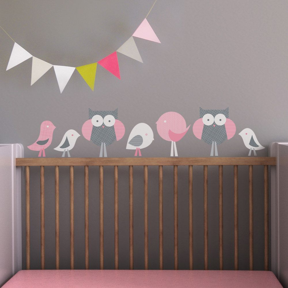 Nursery Wall Decal. Birds and Owls Children Wall Decal | Vinilos ...