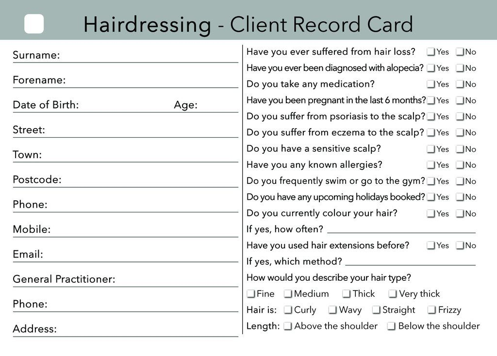 Beauty Client Card Treatment Consultation Card In 2019