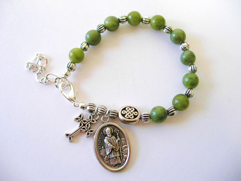 St Patrick Irish Connemara Marble Single Decade Celtic Knot Rosary Bracelet By Bridgetfainne On Etsy