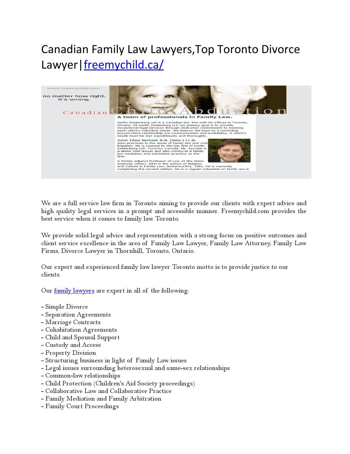 Canadian Family Law Lawyers,Top Toronto Divorce Lawyer