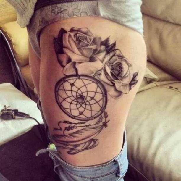 roses and dreamcatcher tattoo woman tattoo tattooed tattoos thigh tattoos pinterest. Black Bedroom Furniture Sets. Home Design Ideas