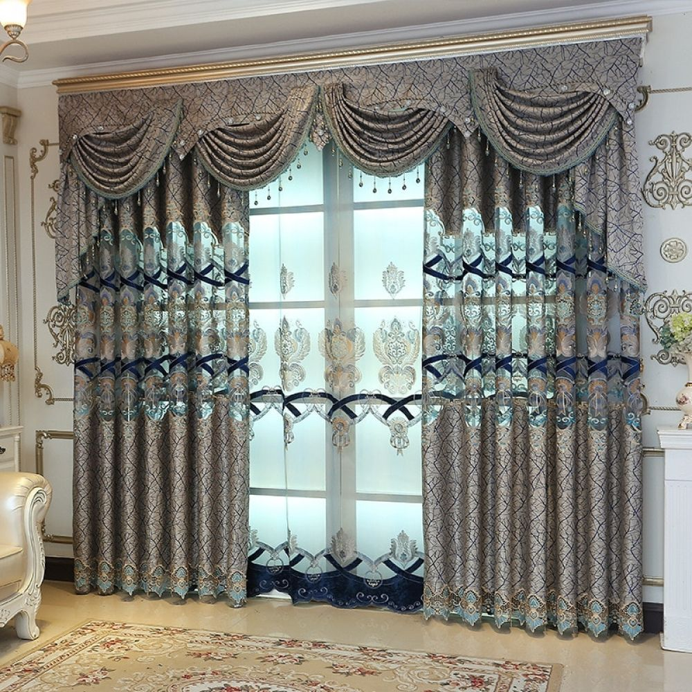 Water Soluble Yarn Embroidered Curtain, Valances For Living Room