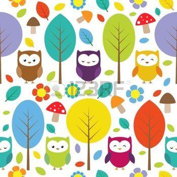 buhos en ramas Lechuzas, árboles, hojas, hongos y flores - patrón