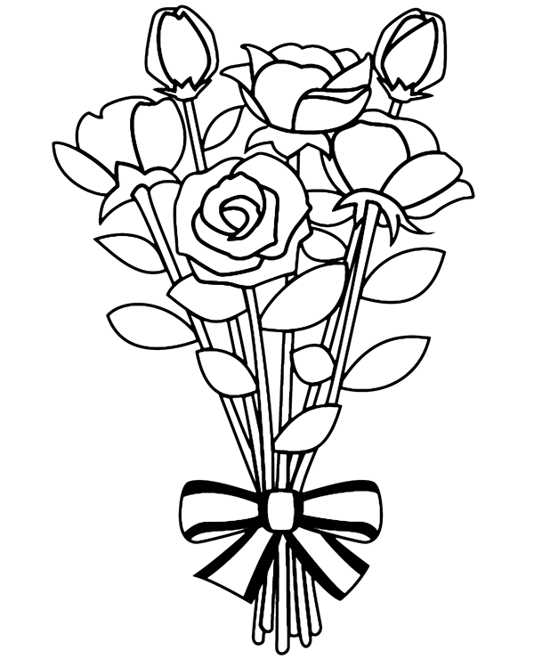 Bouquet Of Roses Coloring Page Coloring Pages Flower Coloring Pages Coloring Pages For Kids
