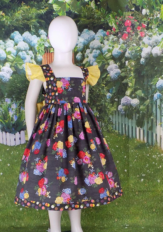 Girls, Easter Dress, Spring, Summer, Floral, Big, Flowers, Yellow ...