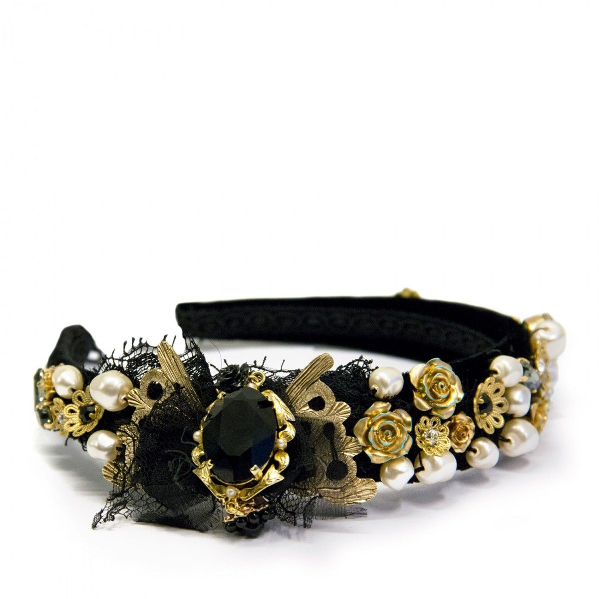 dolce and gabbana headband - use vintage brooches and old beads