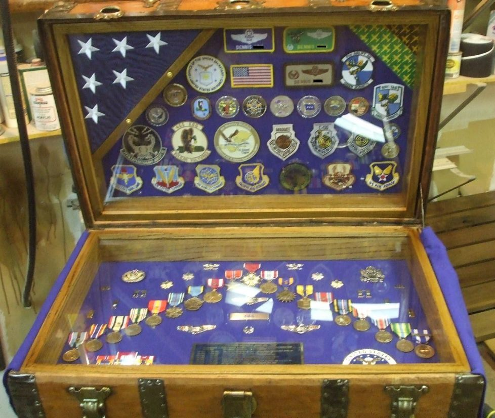 Antique Trunk Used as USAF US Air Force Retirement Shadow