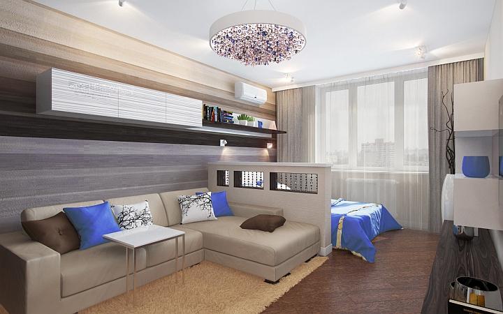 Дизайн на дневна и спалня в едно помещение Home decor